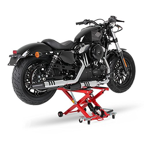 ConStands - Motorrad Hebebühne für Harley Davidson Night Train (FXSTB), Night-Rod/Special (VRSCDX)/(VRSCD), Road King (FLHR/I), Road King Classic/Custom (FLHRC/I)/(FLHRSI) Hydraulisch XL 500kg Rot