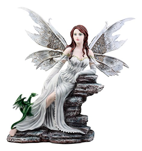 """Ebros Large White Frost Queen Fairy with Green Dragon Baby Statue 17.25"""" H Decorative Myths and Legends Fantasy Collectible"""