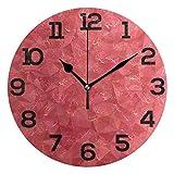 Reloj de Pared Triángulo Fondo Abstracto Sandía Rojo Redondo Acrílico Reloj Negro Números Grandes Silencioso Sin tictac Reloj Pintura Decorativa Reloj con Pilas para e School Hotel L