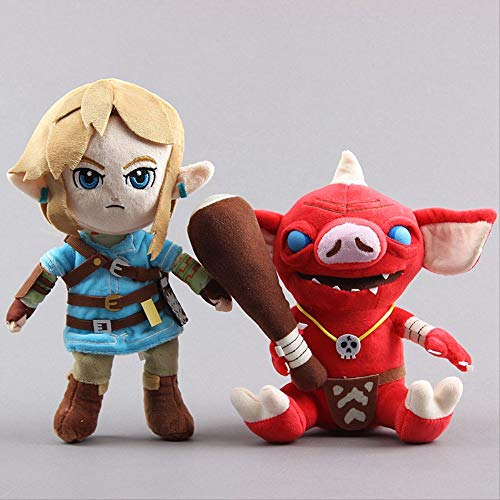 hzwh Peluche, 2 Piezas/Set Anime The Legend of Zelda Link Doll Cute Legend Zelda Bokoblin Peluches Suaves 21-28 Cm Baby Kid Gift Home Car Decor