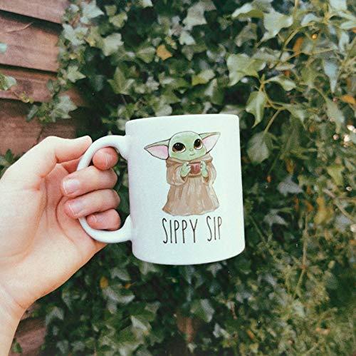 Sippy Sip Mug - Baby Yoda Coffee Mug, Best Yoda Gift - Gift For Her - Gift For Him Funny Coffee Mug, White Ceramic 11 Oz Travel Coffee Tea Mugs Cups