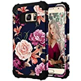 Samsung S7 Case,S7 Phone Case,Casewind Samsung Galaxy S7 Case Floral 3 in 1 Hard PC Soft Silicone Heavy Duty Hybrid Protection Shockproof Anti-Scratch Rugged Bumper Cover for Galaxy S7 Case,Navy Blue