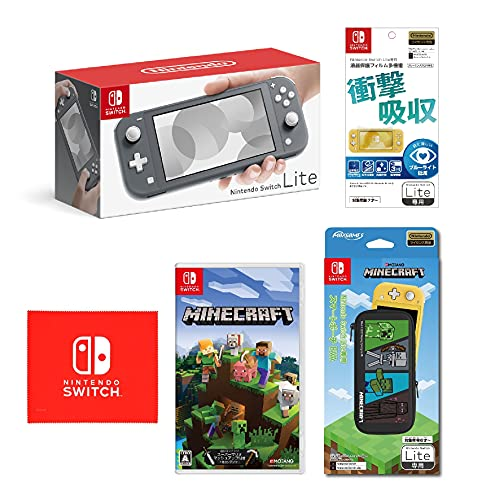 Nintendo Switch Lite グレー+Minecraft (マインクラフト) - Switch (【Amazon.co.jp限定】オリジナルマイクロファイバークロス 同梱)+【任天堂ライセンス商品】Nintendo Switch Lite専用液晶保護フィルム 多機能+Nintendo Switch Lite専用スマートポーチ EVA マインクラフト 4キャラクター