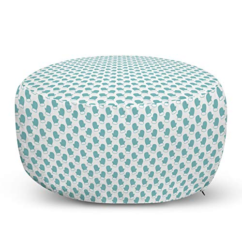Ambesonne Turquoise Pouf Cover with Zipper, New Years Christmas Theme Winter Snow Gloves with Furry Borders Image, Soft Decorative Fabric Unstuffed Case, 30' W X 17.3' L, White and Pale Blue
