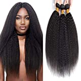 kinky Straight Human Hair Bundles 18 20 22 Inch Brazilian Yaki Straight Weave Human Hair 3 Bundles 100%Unprocessed Natural Black Hair Extensions Weave