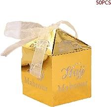 cici store 50 Pcs/Set Eid Mubarak Paper Gift Box,Islamic Muslim Ramadan Decorations Wedding Candy Boxes(Gold)
