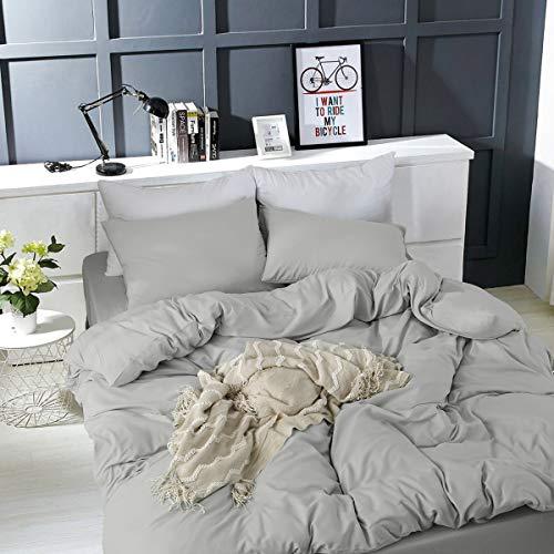 Bettwäsche Set 200 x 220 cm Grau Bettwäsche 100% Weiche und Angenehme Mikrofaser Schlafkomfort - 1 Bettbezug 200x220 mit Reißverschluss + 2 x Kissenbezüge 80 x 80 - 10 Jahre Garantie - grau