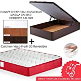 MICAMAMELLAMA Pack Canapé de Madera Cheap + Colchón Viscoelástico VISCO Confort Fresh 3D Reversible - Montaje Incluido (Wengue, 150x190)