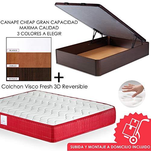 Mi Cama Me Llama Pack Canapé de Madera Cheap + Colchón Viscoelástico VISCO Confort Fresh 3D Reversible - Montaje Incluido (Wengue, 150x190)