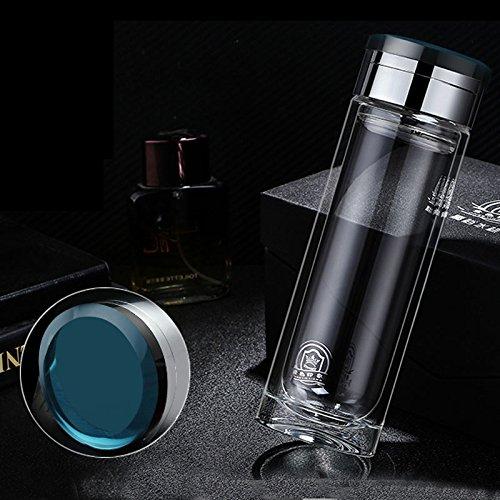 Tasse à café iggiqy996q- Business Cup Mâle Portable Chaleur Épaissi Creative Double Coupe en Verre Tasse à Thé (Couleur : Bleu)