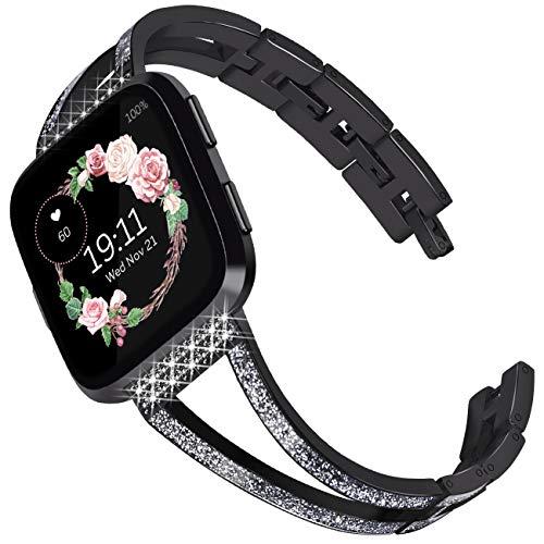 KADES Compatibel voor Fitbit Versa riem, Klassiek Echt Lederen Band met Quick Release Pin Compatibel voor Fitbit Versa Smart Watch Mannen Vrouwen, Zwart met Glitter Emaille