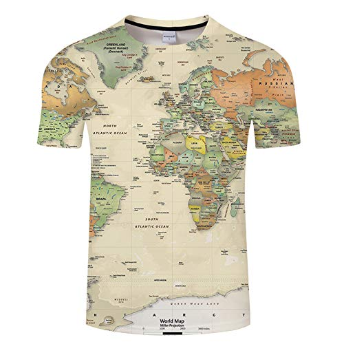 Blwz Heren T-Shirt Summer Club 3D Map of Europa druk Street Unisex Halfter Casual Tees Youth Couple Vacation Beach S-6XL