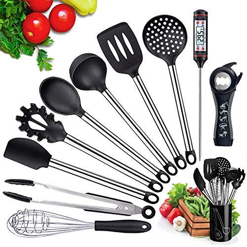 BMK Silikon Küchenhelfer Set 11+1 Küchen Thermometer, Küchenutensilien Home Kitchen Cooking Tools Kochgeschirr Geschirr Küchengerät Camping im Freien Antihaft Hitzebeständiger (Schwarz)