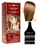 Surya Brasil All Natural HENNA Hair Color CREAM Plant Extracts, Semi-Permanent for Grey Coverage (with Brush) Brazil (GOLDEN BLONDE)