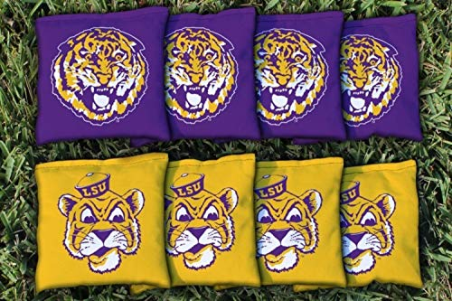 Victory Tailgate NCAA College Vault Regulation Corn Filled Cornhole Game Bag Set - 8 Bags Included - Louisiana State LSU Tigers