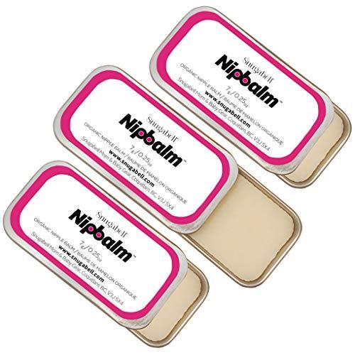 Snugabell Nipbalm PumpEase Fragrance-Free, Lanolin-Free, Organic Balm for Breastfeeding, Pumping, Dry Skin, Nursing, Burns, Tattoo Healing and More | 3-Pack (3 x ¼ oz/7g)