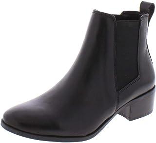 Steve Madden حذاء برقبة للكاحل Dover للنساء، جلد أسود، 11