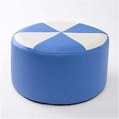 Carl Artbay Wooden Footstool Blue Plus White Stool Children's Leather Stool Home Changing His Shoes Stool Home