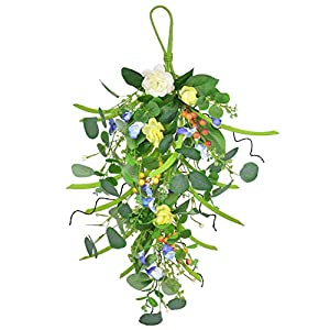 Artificial Flower Eucalyptus Swag with Berries 24 Inch Hanging Plants Faux Silk Eucalyptus Garland Greenery for The Front Door Room Wall Décor