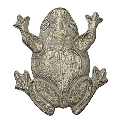 L'Héritier Du Temps Pas Japans motief kikker, tuindecoratie van gietijzer gepatineerd grijs 2 x 28 x 32 cm