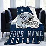 Mcllan Custom Personalized Football Style Throw Blanket Printed with Any Name and Number for Men Women Boy Decorative Gift D.C