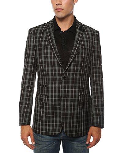 Ferrecci 42L Mens Alton Black & White Slim Fit Plaid Blazer
