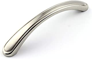 6 Pack Satin Nickel Cabinet Pulls 3-3/4 inch (96mm) Hole Centers Modern Cabinet Handles, Sliver