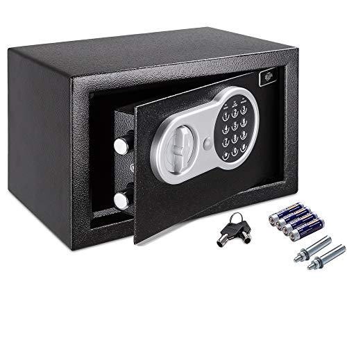 Deuba Tresor Elektronik Zahlenschloss 31x20x20cm LED Doppelstahlbolzen Montagematerial Safe Möbeltresor Schwarz