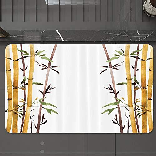 Tapis de Bain Antidérapant Absorbant,Ensemble en bambou, bambou bercer calmez votre esprit r,Tapis de Salle de Bain pour Sortie de Douche Baignoire Toilette en Microfibre Lavable en Machine 50 x 80 cm