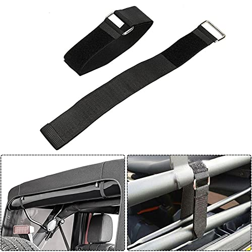"""AUXMART Tie Down Straps for Jeep Wrangler 21"""" x 1.5"""" Hook & Steel Loop Fasteners Rear Window Secure Soft Top When Down or Sunrider Adjustable Cinch Straps for Auto, Home, Outdoors(A Pair)"""