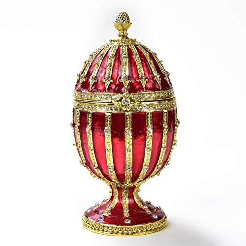 KALIFANO Red Faberge Egg Jewelry Box/Stash with Swarovski Element Crystals and Gemstones Made for Storage, Organization, and Display - Handmade Earring, Necklace, and Ring Box (Collectible Oranament)