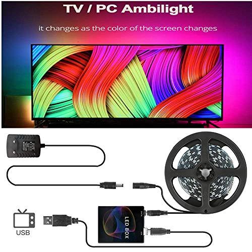 QHY DIY Ambilight TV PC Traumbildschirm USB-LED-Streifen HDTV-Computermonitor Hintergrundbeleuchtung Adressierbar WS2812B LED-Streifen 1/2/3/4 / 5m Komplettset 5M-Kit 30 LEDs pro Meter
