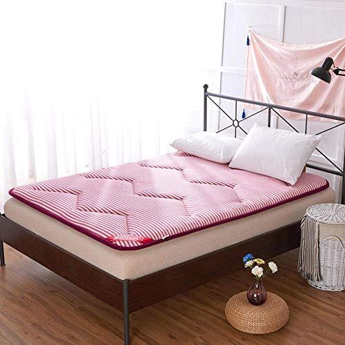 JY&WIN Sleeping Pad Mattress,Double Single Japanese 2-layer Structure Comfortable Student Dormitory Mattress Folding Mattress Cushion Mats Soft Touch-rose Red King