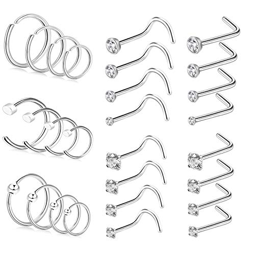 BODYA 28Pcs Nose Rings and Studs Surgical Steel 20 Gauge Nose Rings Set L Shaped Nose Studs Nose Piercing Jewelry