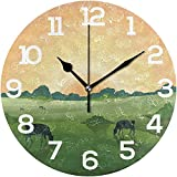 Reloj de Pared Vaca Granja Campo Paisaje Reloj de acrílico Redondo Reloj silencioso sin tictac