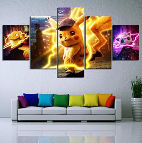 DUODUOQIAN Película Detective Pikachu 5 Cuadros En Lienzo Listo para Colgar Artístico Pintura Cuadros, Modernos Estilo Salón Dormitorio Print Pared, 150×80Cm