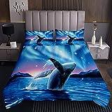 Walfisch Bettüberwurf Ozean Tagesdecke 220x240cm für Kinder Jungen Mädchen Galaxis Steppdecke Niedliche Marine Sealife Blaues Wasser Wohndecke Dekor 3St