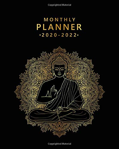 Monthly Planner 2020-2022: Meditating Buddha Three Year Calendar & Schedule Agenda with Monthly Spread Views | 3 Year Black & Gold Organizer with To-Do's, Motivational Quotes, Notes & Vision Boards