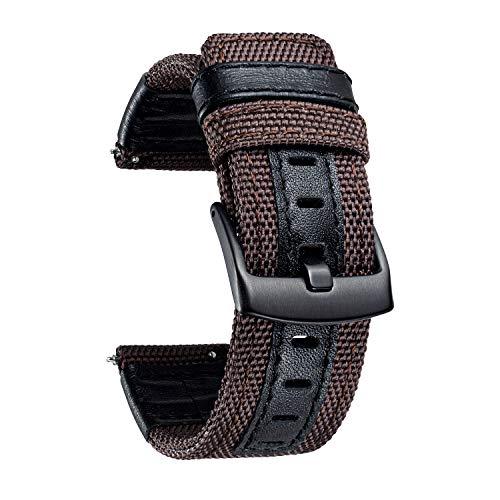 Bandas de Repuesto para Reloj BINLUN Tela de Lona con Correas de Reloj híbridas de Cuero Genuino con Hebilla Negra en 6 Colores (marrón Verde Negro Azul Caqui Rojo) 3 tamaños (20/22/24mm)