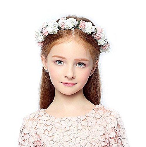 KMALL Rosa bianca coroncina fiori capelli regolabile fiore per sposa damigella d'onore bambina donna per matrimonio fotografia corona ghirlanda fiori fascia fiori