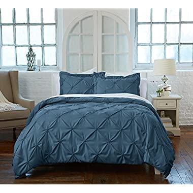 Great Bay Home Signature Pinch Pleated Pintuck Duvet Cover with Button Closure. Luxuriously Soft 100% Brushed Microfiber with Textured Pintuck Pleats and Corner Ties. By (King, Soft Teal)
