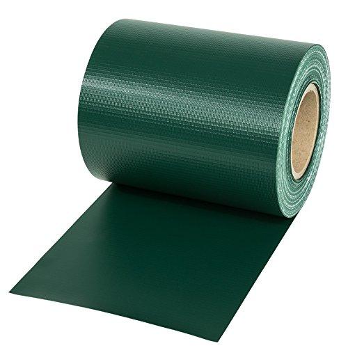 TecTake Rotolo Recinzione Altezza: 19cm PVC Antracite + Clip di Montaggio - Modelli Differenti - (70m | Verde | No. 401875)
