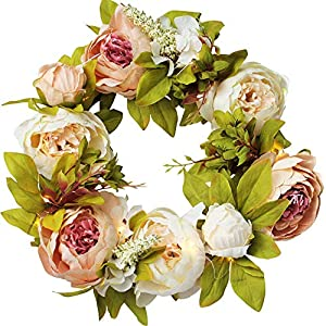"""IRONLAND 15"""" Spring Wreath for Front Door Peony Flower Wreath Artificial Floral Wreath with Green Leaves, Spring Summer Garland Wreath for Wall Wedding Party Home Décor"""