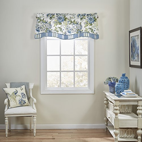 Waverly Floral Engagement Rod Pocket Curtains for Kitchen and Living Room, 52 x 18, Porcelain