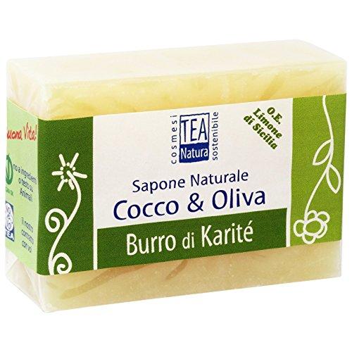 TEA NATURA - Savon Naturel d'Olive & Coco au Beurre de Karité - Parfait pour Visage, Mains et Corps - Propriétés apaisantes et nourrissantes - Vegan - 100 g