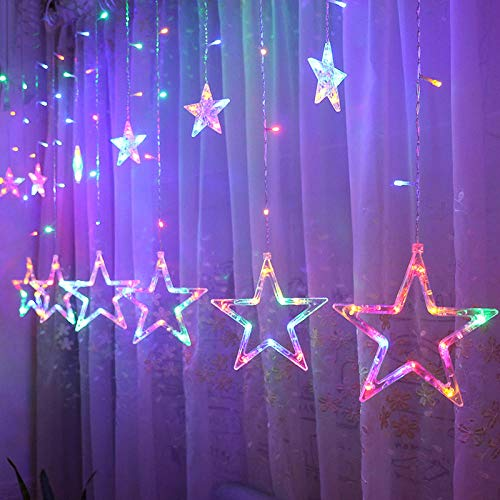 Sterren lichten LED Strings Holiday Lights kerstverlichting decoratie gordijn verlichting bruiloft neonlicht-220V (platte stekker) kleur vijfpuntige ster