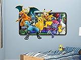 Pegatinas de pared Pokémon Wall Decal Videojuego móvil Adhesivo mural decorativo vinilo 3d habitación de niños