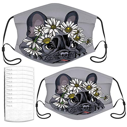 Face Mask French Bulldog in A Chamomile Crown Reusable Masks Set with 10 Filters