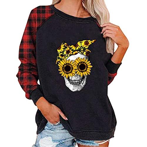 Sudaderas Casuales para Mujer con Cuello Redondo Estampadas De Halloween Camisetas, Sueltas De Manga Larga, Casual Camisas