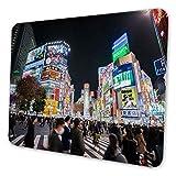 マウスパッド ゲーミングマウスパッド-夜の東京渋谷交差点写真 滑り止め デスクマット 水洗い 25x30cm